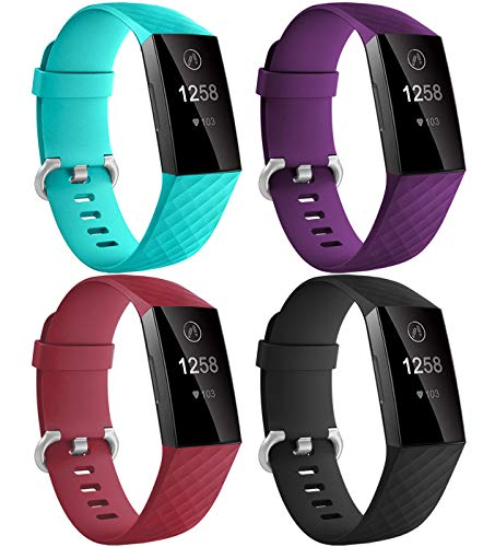 Dirrelo Compatible con Correa Fitbit Charge 3/Fitbit Charge 4 para Mujeres Hombres, 4 Pack Impermeable Ajustable Silicona Reemplazo Deporte Pulseras para Charge 3/4/SE, Roja+Turquesa+Negro+Ciruela S