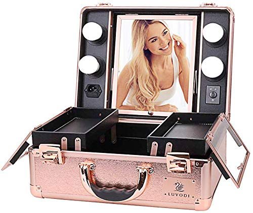 Makeup Train Case, Pro Aluminum Cosmetic Organizer Box Bag With LED & Mirror, Large Capacity Beauty Artist Cosmetic Tools Storage Kit(Rose Gold)