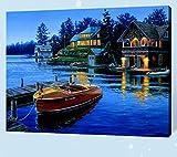 Sin marco Diy Pintura Digital Por Número Lago Cabina Barco Pintura Abstracta Moderna Arte De La Pared Pintura De La Lona Para El Hogar Deco 40x50cm