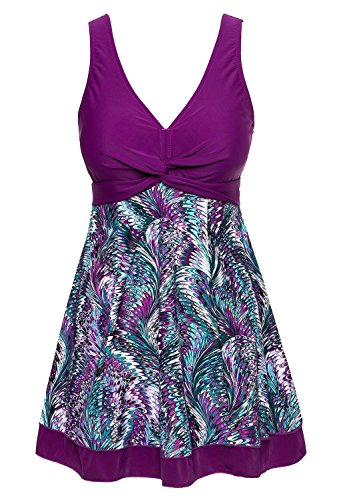 MiYang Women's Plus Size Printing Padded High Waist Swimdress Purple US 3X (20W-22W)