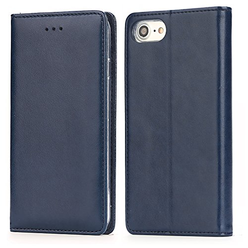 iPhone 8 Plus Leather Case, iPhone 7 Plus 5.5 Inch Folio Leather Wallet Case with Kickstand, Card Slots, Ultra-Strong Magnetic Closure, Flip Notebook Cover Case for iPhone 7 Plus / 8 Plus (Blue)