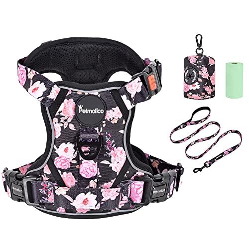 Petmolico No Pull Dog Harness Set, 2 Leash Attchment Easy Control Handle Reflective Vest Dog Harness Medium Breed, Medium Dogs Harness and Leash Set with Poop Bag Holder, Medium Pink Rose