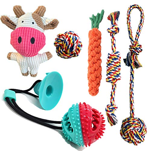 Blue Space Dog Chew Toys for Small Dogs, Durable Puppy Teething Toys, Durable, Healthy, Natural Rubber and Cotton Dog Chew Toys, 100% Natural Cotton Ropes Chew Toys for Puppies