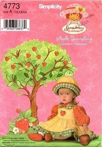 Simplicity 4773 sewing pattern makes Toddler Girls Apple Dumpling Costume sizes 6m-4yr