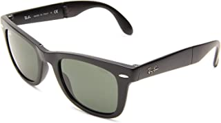 RAY-BAN RB4105 Wayfarer Folding Sunglasses, Matte Black/Green, 50 mm