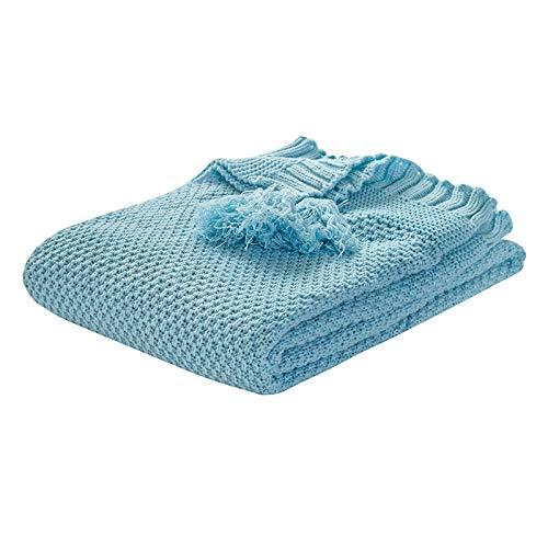 Camisin Mantas de punto para bebé con borla para recién nacido, envoltura de pañales para niños, ropa de cama de viaje para niños pequeños, color azul