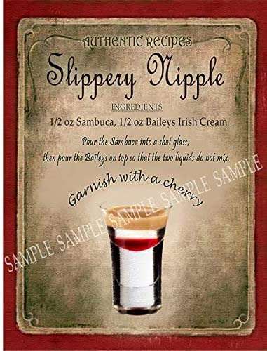 Slippery Nipple Cocktail Recipe Retro Style Metal Sign 3 Sizes To Choose Bar Cafe Pub Bistro Home Bar 8 X 6 200 X 150 Mm Amazon Co Uk Kitchen Home