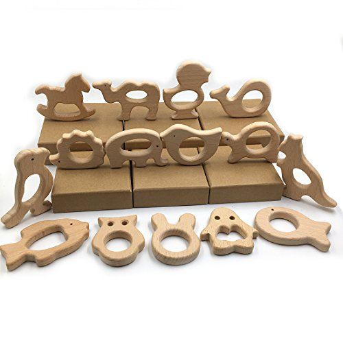 Review Of Amyster 30pcs Organic Natural Beech Wooden Toy Hand Cut Animal Baby Wooden Teether Eco-fri...