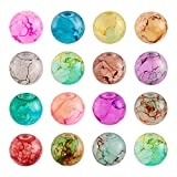 Cheriswelry 300 cuentas de cristal pintadas en aerosol de 8 mm, 15 colores, redondas, para joyas, pulsera, agujero: 1,5 mm