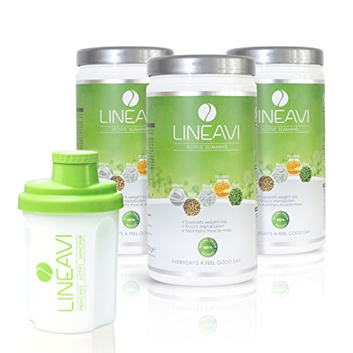 LINEAVI Active Slimming, protein meal replacement shakes for weight loss control, mix of soy, pea, rice and whey proteins, lactose free and gluten free, made in Germany, 3x500g + shaker