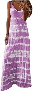 KYLEON Womens Dresses Casual Summer Sundress Sleeveless Gradient Tie-dye Loose Maxi Long Dress Beach Tunic Tank Dress Plus