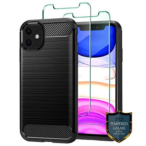 J Jecent Funda iPhone 11 + Protector de Pantalla iPhone 11 [2 Piezas], Carcasa [Textura Fibra de Carbono] Silicona TPU Case de Protección [Antideslizante] [Anti-Golpes] Cover para iPhone 11 - Negro