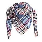 YUANCHENG Bufanda Mujer Contrato Color Abrigo Bufandas Largas Invierno Cálido Rayas Bufanda Grande Azul