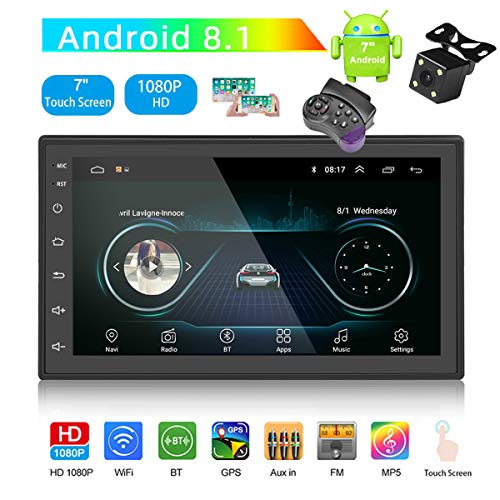 GOFORJUMP Android 8.1 autoradio stereo navigatie GPS Bluetooth FM WiFi Universal 7 inch 2din autoradio stereo multimediaspeler met achteruitrijcamera SWC