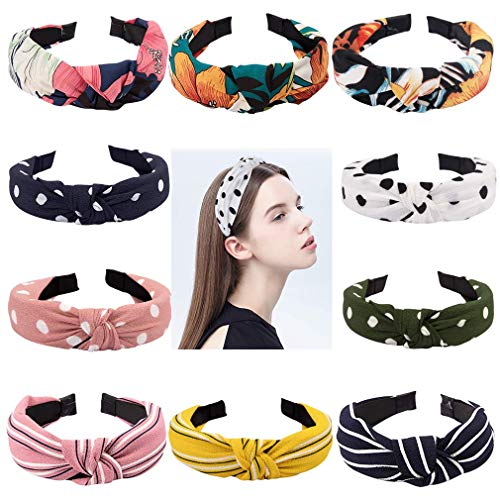Exacoo 10 Pack Wide Headbands Knot Turban Headband Cross Knot Hair Bands Elastic Plain Fashion Hair Accessories for Women, 10 Colors