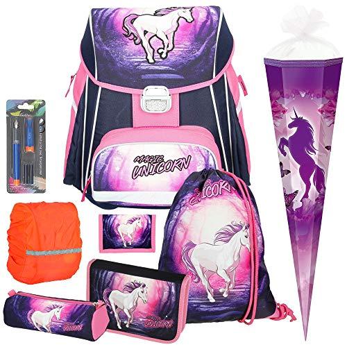 Spirit Magic Unicorn Einhorn Schul-Ranzen-Set 8tlg. mit Schultüte und Regensicherheitshülle - Schreiblernfüller GRATIS