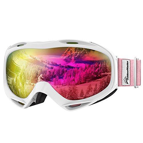 OutdoorMaster OTG Ski Goggles - Over Glasses Ski / Snowboard Goggles for Men, Women & Youth - 100% UV Protection (White Frame + VLT 13% Pink Lens with Full REVO Pink)