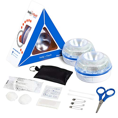 HELP FLASH SMART x 2 - luz emergencia AUTÓNOMA, señal v16 preseñalización peligro+linterna, homologada, DGT, base imantada, activación AUTOMÁTICA y REGALO LLAVERO 16 elementos 1ºs auxilios