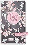 Häfft-Timer A6 Slim 2020/2021 [Pink Blossom] Schüler-Kalender im Hosentaschenformat, Schüler-Planer, Schulplaner, Semesterplaner für Oberstufe, Ausbildung oder Studium