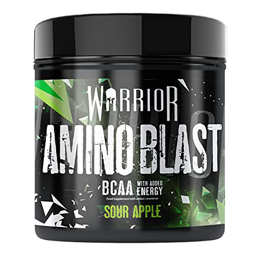 Warrior Amino Blast BCAA PreWorkout Powder 30 Servings Supplements, Green, Sour Apple, 270 g