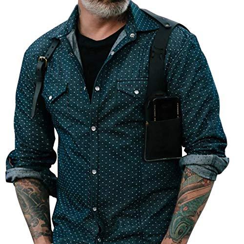 Camisas para Hombres Camisa de Estilo Europeo y Americano Tops Camisas de Manga Larga de Tendencia de Verano XL