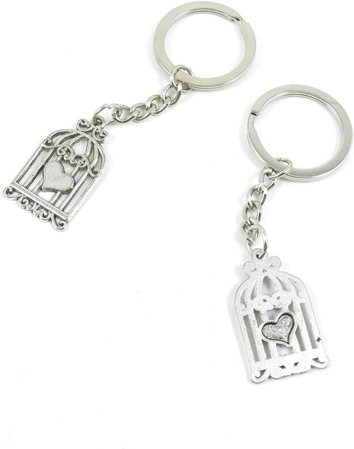 100 Pieces Keychain Keyring Door Car Key Chain Ring Tag Charms Bulk Supply Jewelry Making Clasp Findings W6UM7X Heart Bird Cage Birdcage