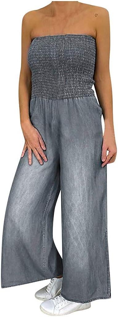 Euone_Clothes Romper for Women Casual Sexy, Women Plus Size Overalls Off Shoulder Denim Faux Romper Baggy Playsuit Jumpsuit