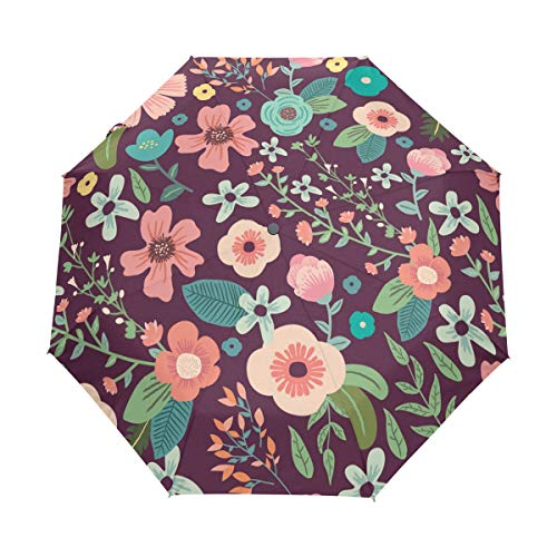 Mr.Lucien Colorful Flower Painting Compact Umbrella, Branches and Vines Retro Fresh Style Automatic Folding Travel Umbrella, Windproof Auto Open/Close for One Handed Operation 2020594