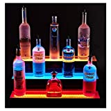 LED Bottle Display 40 Inches Bar Shelves for Liquor Bottle Display Shelf 3 Tier LED Lighted Bar Shelf for Home Commercial Bar, with RF Remote Control Multiple Colors,603321cm