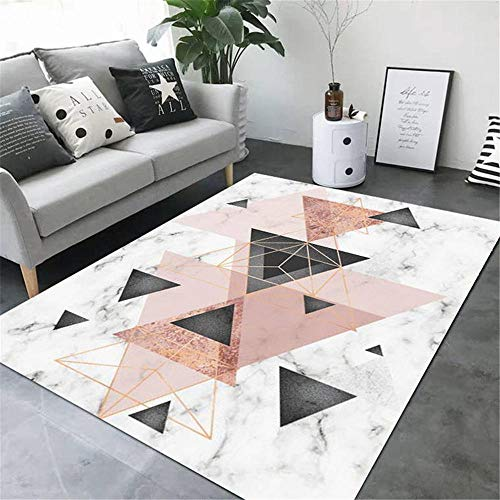 Xiaosua Garden Carpet Pink Modern carpet pink triangle geometric pattern anti-dirty carpet durable Outside Rugs 120X180CM Small Rugs For Living Room 3ft 11.2''X5ft 10.9''