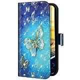 Uposao Kompatibel mit Samsung Galaxy A20 Core Handyhülle Handytasche Glitzer Bling Glänzend Bunt Muster Schutzhülle Flip Case Brieftasche Klapphülle Leder Hülle Cover,Gold Schmetterling