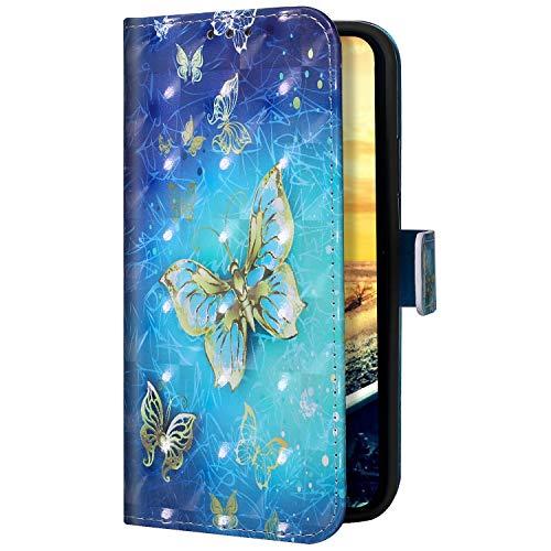 Uposao Coque Compatible avec iPhone 11 Pro Coque en PU Cuir,iPhone 11 Pro Housse Pochette Portefeuille Etui de Protection Coque à Rabat Magnetique Stand Flip Case Coque 3D Effet Motif,Papillon Or
