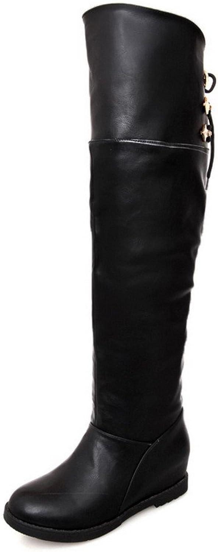 AmoonyFashion Womens Closed Round Toe Kitten Heels PU Short Plush Solid Boots with Heighten Inside, Black, 7.5 B(M) US