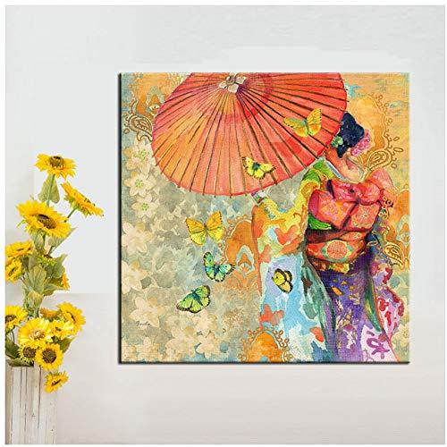 Arte de pared Kimono japonés Pintura sobre lienzo Cuadro de pared para sala de estar Arte de pared Carteles e impresiones -60x60cm Sin marco