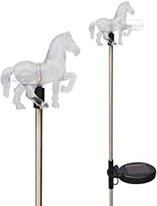Set of 2 Clear Acrylic Horse Solar Yard Stick Color Change Lights