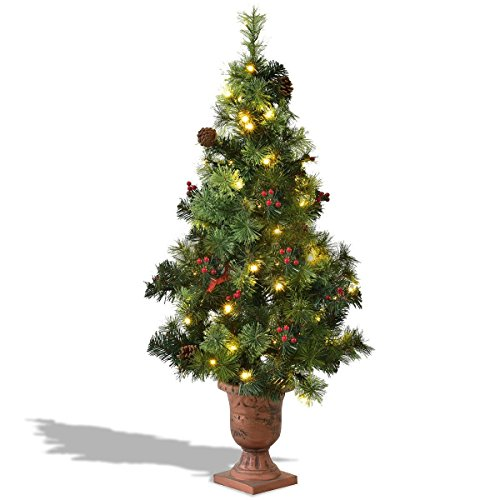SAFEPLUS LED Christmas Tree,Lighted Christmas Tree with Red Berries Pine Cones,5ft Christmas Tree