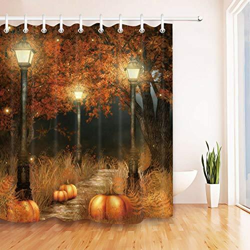 N/O NELTEG Duschvorhang Wasserdichter Stoff Forest Street Light Kürbis Duschvorhang Halloween Wohnaccessoires