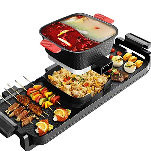 Electric Grill Indoor Hot Pot, 4L Electric Barbecue Stove Multifunctional Shabu Shabu Pot Korean BBQ Grill Smokeless 3 in 1 Non-Stick Pan Separate Dual Temperature Control for 2-9 People