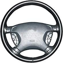 product image for Wheelskins Geo Genuine Leather Black Steering Wheel Cover-Size AXX