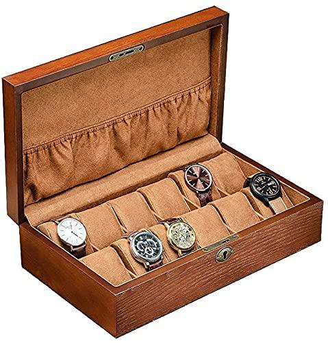 HKHJ Caja de reloj para 12 relojes, estuche de madera para guardar relojes con cerradura con llave, organizador de joyas para pulseras y relojes de pulsera, elegante regalo para hombres, color marrón