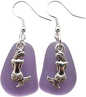 "product image for Handmade in Hawaii,""TWIN MERMAID""""Magical Color Changing"" purple sea glass earrings, February Birthstone, (Hawaii Gift Wrapped, Customizable Gift Message)"