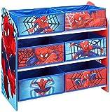 Spider Man Regal zur Spielzeugaufbewahrung mit sechs Kisten für Kinder, Holz, rosa, 30 x 64 x 60 cm