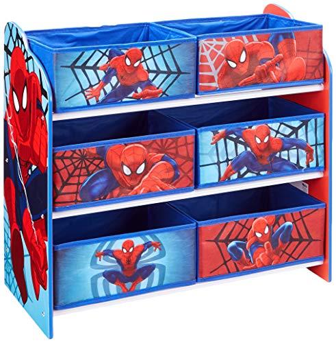 hellohome 471SDR Spider Man Mobile con Contenitori per La Cameretta, Legno, Blue, 30 x 63.5 x 60 cm