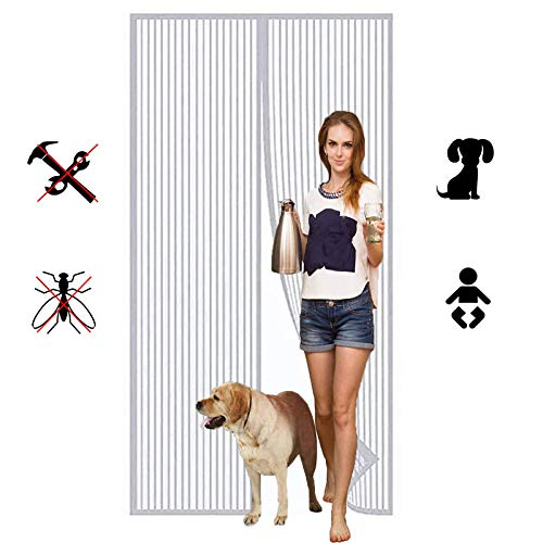 Cortina Mosquitera Magnética Puertas, Imanes Cierre Automático protección de Insectos Mosca Cortina, para Puerta de Balcón Sala de Estar Puerta de Patio-white  70x190cm(27x74inch)