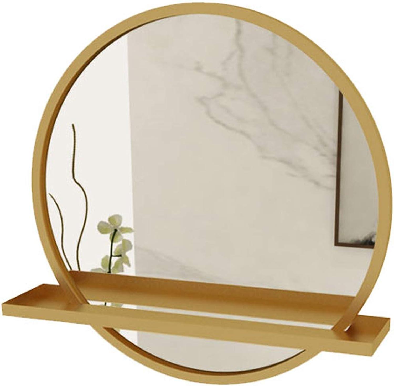50cm Diameter Bathroom Shaving Mirror Metal Frame Wall Mirror with Shelf Bedroom Decor Hanging Vanity Mirror Hallway and Living Room, golden