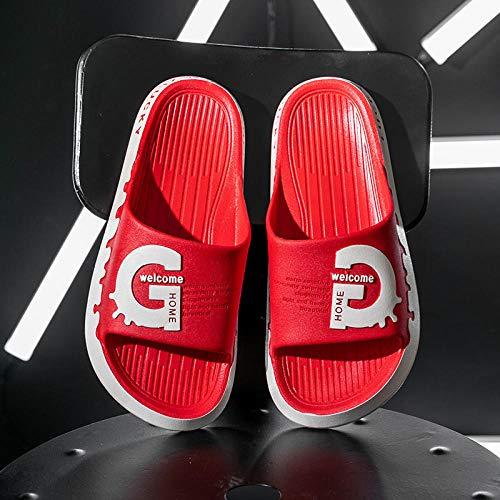 TDYSDYN Zapatillas sin Cordones para Mujer/Hombre,Sandalias de Masaje Antideslizantes de Suela Gruesa, Zapatillas de casa de Pareja-Rojo_38/39