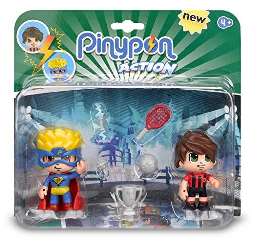 Pinypon Action - Pack de 2 Figuritas Superhéroe y Futbolista