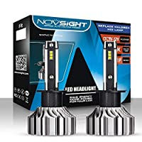led ヘッドライト NOVSIGHT H1 LEDバルブ ファンレス 10000LM(5000LM*2) 50W(25W*2) 明るく高輝度 6500K ホワイト 2年保証 2個セット