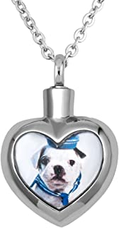 Pet Ashes Necklace URN Cremation Dog Paw Memorial Pendant Jewelry with Fill Kit