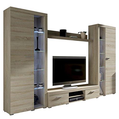 Wohnwand Rango XL, Modernes Wohnzimmer Set, Design Anbauwand, Schrankwand, Mediawand, Vitrine, TV Lowboard, (Sonoma Eiche, mit weißer LED Beleuchtung)